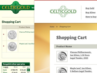 Shopping cart — before/after e-commerce magento shop checkout cart gold silver buy