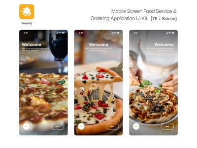 Mobile screen food Service & Ordering application Ui Kit   [75 + ugurates2017 free app 2020 prototype ux ui