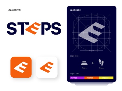 Steps logo app - Mobil App. typography branding logo design free ugurates2017 ux ui prototype