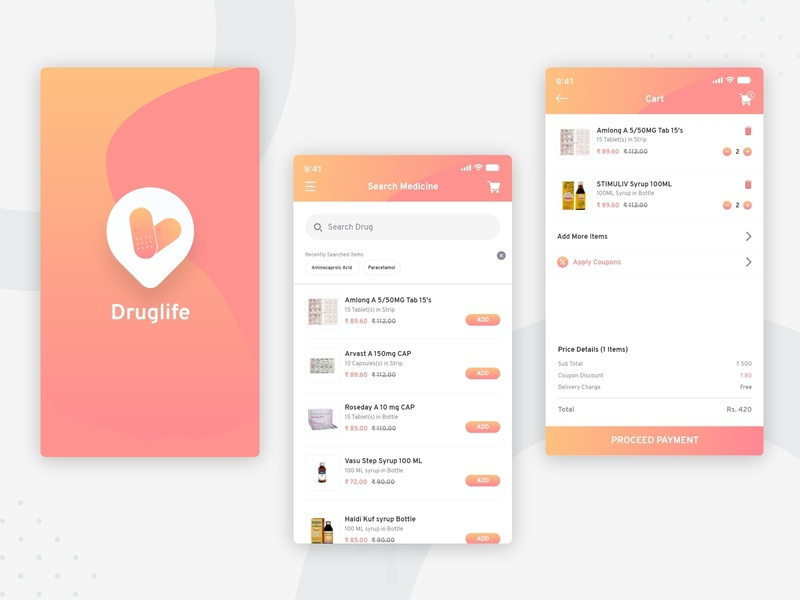 Medicine App UI design drug app medicine app drug illustration android apps branding application mockup logo creativity design ux ui