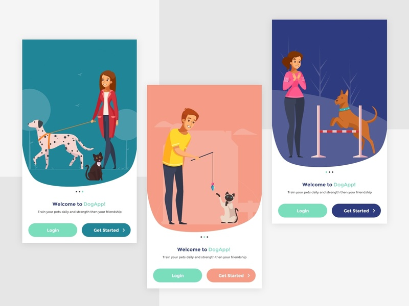 Petapp UI desing on boarding screen pet care trainingapp dogapp petapp clean apps android branding application mockup logo creativity design ux ui