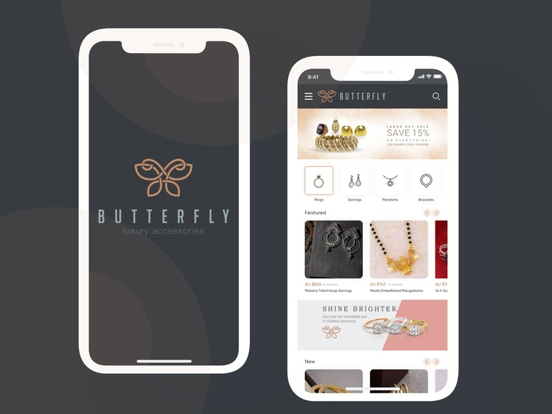 Jewelry App design UI jewelery app jewelery jewelry apps android branding application mockup logo creativity design ux ui