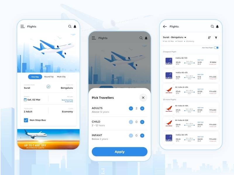 Flight Booking App web desing web brand air booking flight flight booking app flight booking illustration clean apps android branding application mockup logo creativity design ux ui