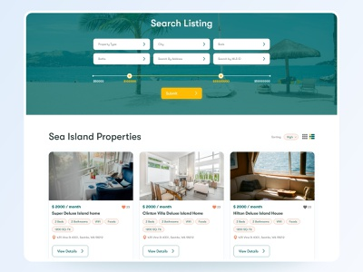 Search Property Listing UI Design web page home page property listing property clean apps android branding application mockup logo creativity design ux ui