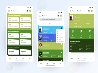 GYM Management App UI Design fitness gym management app fitness app gym app apps android branding application mockup logo creativity design ux ui