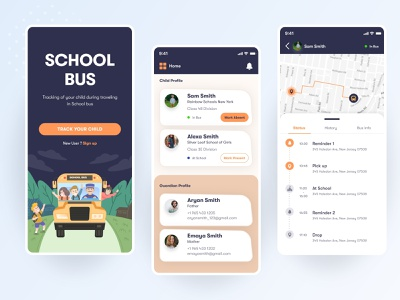 School Bus Tracking App UI application creativity ux ui transportation design app design ui design school school app track app tracking app design app gps tracker saas app gps transport design