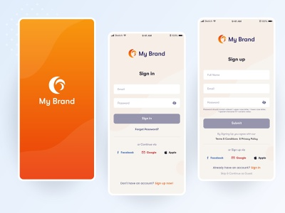 Login And Sign-up Screens login screen design ui ui designs signup ui registration ui ux user experience onboarding login design sign in sign up forgot password onboarding screens uiux uidesign ui design app design