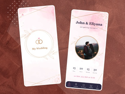 Wedding App video app gallery app marriage app marriage wedding wedding app mockup application creativity design ux branding animation ui