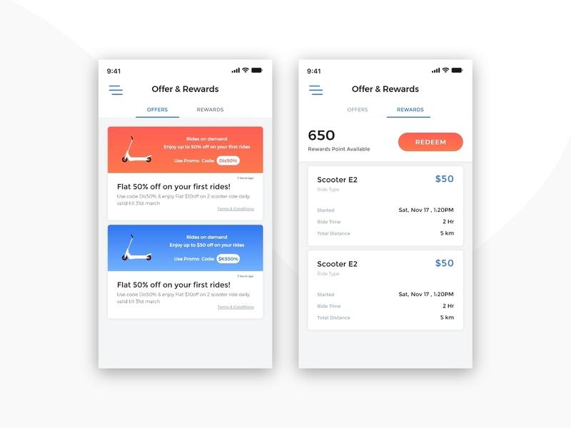 Riding App - Offer & Rewards UI UX Design by krunal ramoliya on Dribbble