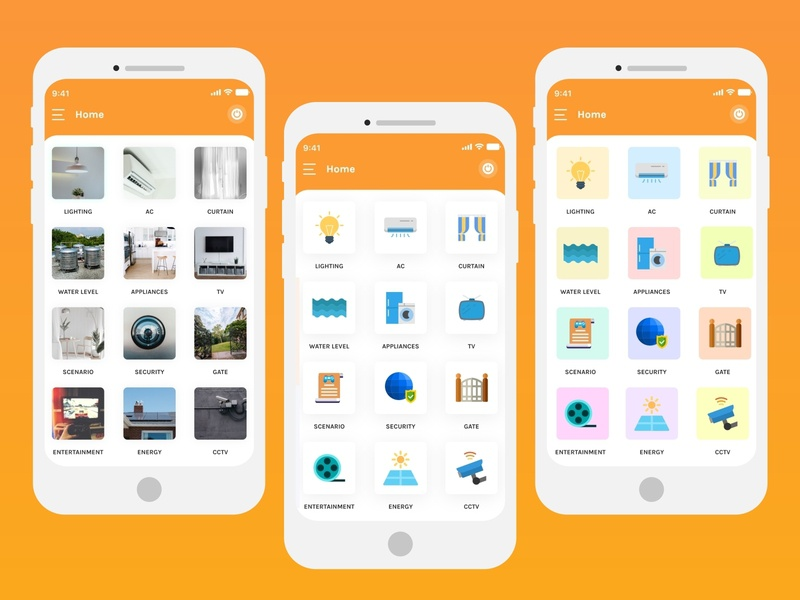 Home Automation UI design home page design home automation clean apps android branding application mockup logo creativity design ux ui