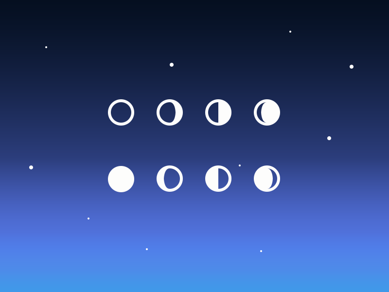 Simple Moon Phase Icons (PSD) material design icons material design psd icon night space moon phase moon