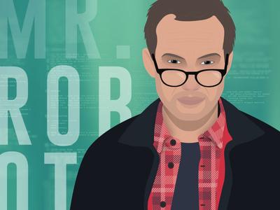 Mr Robot flat illustrator poster hacker illustration tv show mr robot