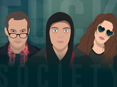 Mr Robot - Fuck Society. fuck society flat illustrator poster hacker illustration tv show mr robot