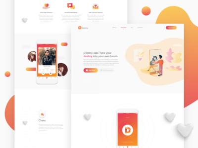 Landing page for dating app Destiny