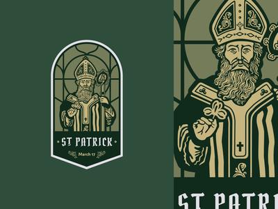 St. Patrick person saint illustration vintage icon stained glass church irish st patrick