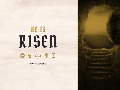 He is Risen vintage wine bread life bible flower crown thorns christian jesus tomb risen easter