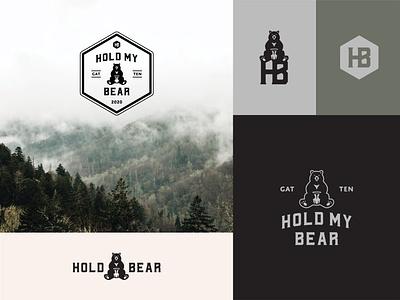Hold My Bear vintage monogram honey honeycomb tennessee air bnb cabin mountains smokies bear