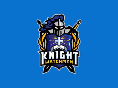 Knight Watchmen sword security guard badge shield crest knight