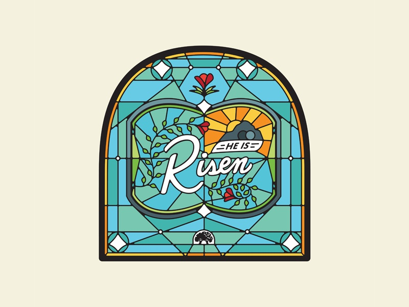 He is Risen sunrise gateway woods tomb rose flower glass stained glass jesus easter
