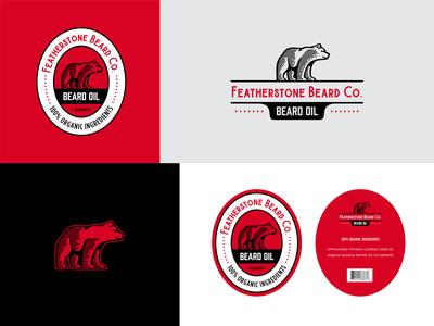 Beard Oil crest modern vintage oil bottle label bear branding beard beard oil logo