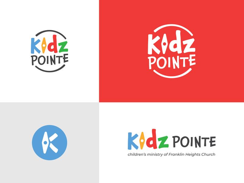 Kidz Pointe kids child icon k monogram point compass colorful church ministry children