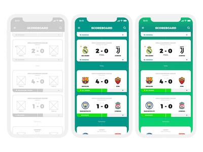 Match App Concept ux ui soccer score match game football app