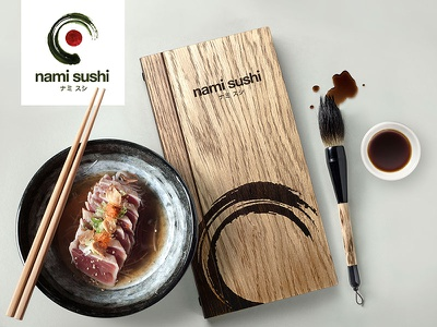 'Nami Sushi' brand and photography design engraved enso zen identity food product restaurant menu