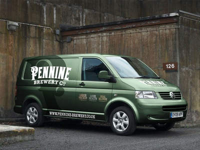 Pennine Brewery vehicle graphics green metallic graphics vehicle brewery vw van