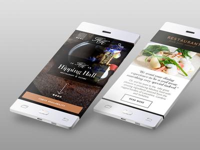 Hipping Hall mobile site design website responsive digital hospitality desktop food design brand hotel restaurant
