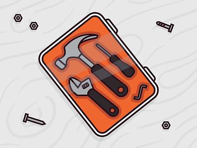 Tool kit tools illustration box orange is the new black hammer ikea didier