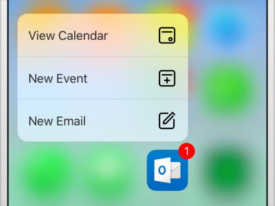 Outlook iOS 3d Touch Icons ux ui compose email event calendar 3d touch icons