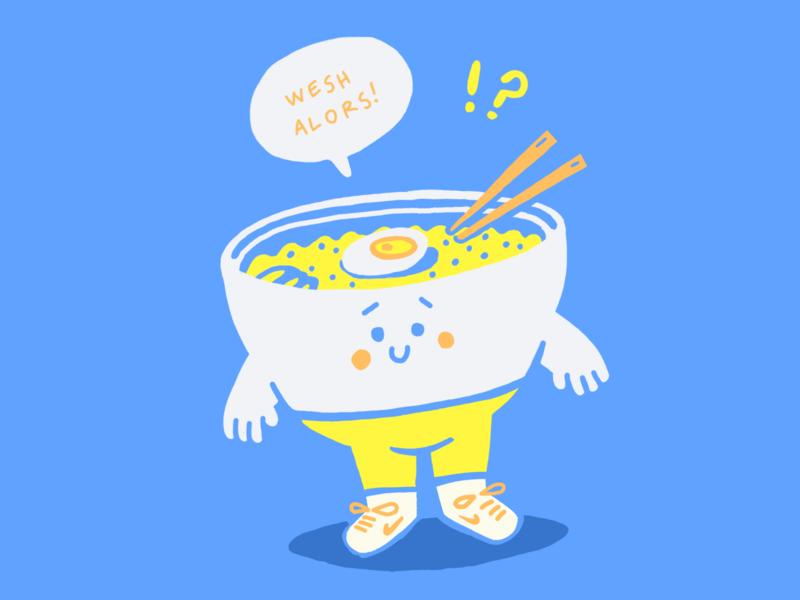 Wesh ramen food caracter cutie ramen illustration