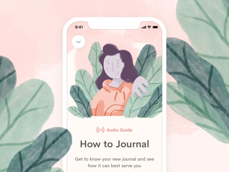Jour Premium ios header content audio mobile journal ui procreate illustration