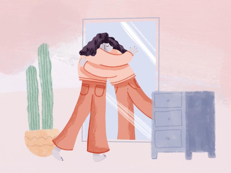 Illustrations for Jour cactus feel better gratitude mirror character illustration