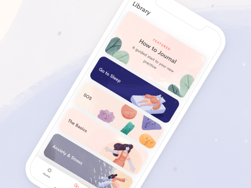 Library tab mobile categories ux ui