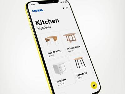 IKEA shopping app shopping bag mockup 3d video animation ux furniture shopping app ikea