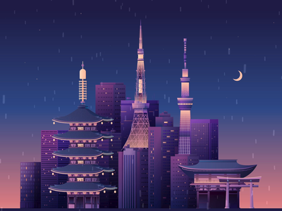 Tokyo at night japan illustration after effects video ae animation