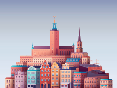 Stockholm illustraion real estate buildings cities city stockholm sweden aftereffects ae ui animation