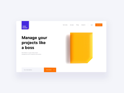 Hello Builder hero concept landing page 3d cinema c4d after effects ui animation