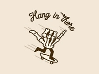Hang in There coronavirus covid19 skate hang in there skull minimal graphic illustration typography hand skeleton skateboard skateboarding