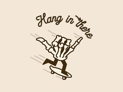 Hang in There coronavirus covid19 skate hang in there skull minimal graphic illustration typography hand skeleton skateboard skateboarding