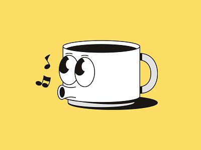 Un Café Joe singing whistle cup of tea tea hot coffee old timey retro cartoon cup of joe cup of coffee cafe coffee