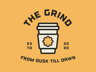 The Grind visual design graphic design logo type typography cup cafe coffee