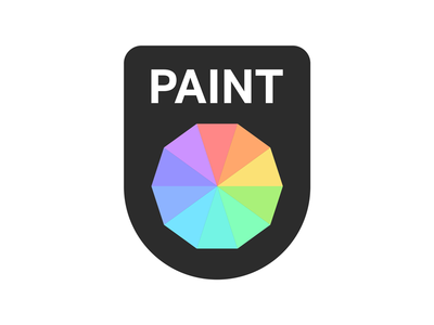 Paint graphic design flat minimal color wheel swatch paint logo app icon application logo thirtylogos