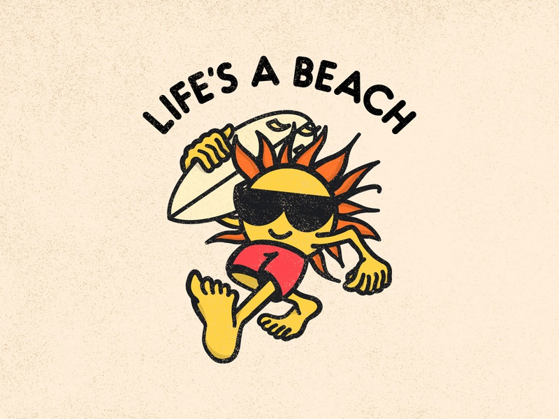 Life's a Beach visual design simple minimal design illustration logo graphic lifes a beach waves ocean sun cartoon surfboard surf