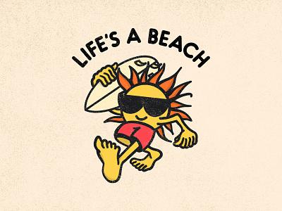 Life's a Beach visual design simple minimal design illustration logo graphic lifes a beach waves ocean sun cartoon surfboard surf