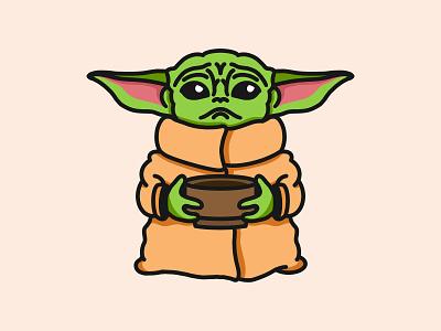 Baby Yoda procreate illustration design graphic minimal coffee cartoon disney plus mandalorian star wars baby yoda