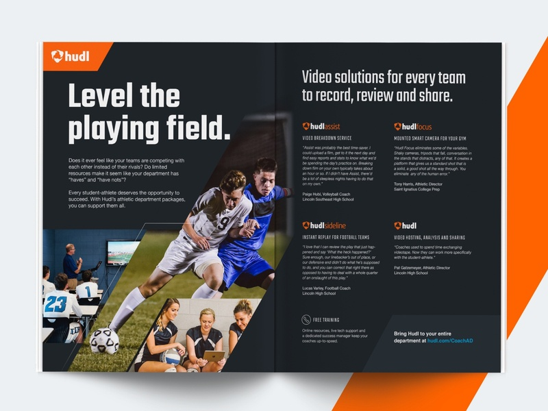 Video Solutions Magazine Ad coaches athletes teams video solutions video high school sports dark environment indesign ad magazine ad magazine hudl marketing advertisement print