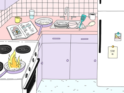 Staying In cooking lessons purple pink cooking stay home illustration