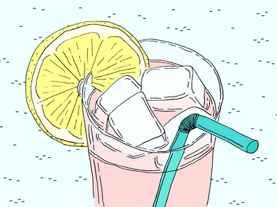 Lemonade lemon pink lemonade illustration